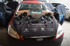 福特福克斯汽车音响改装两套喇叭和DSP,昆明发烧友汽车音响